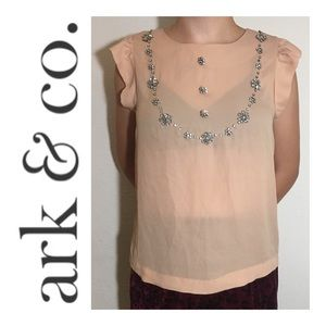 Ark & Co. Sheer Peach Embellished Blouse
